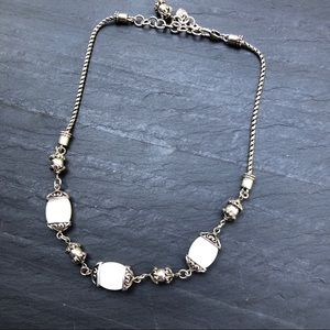 Brighton Necklace Silver White Beads 16-18""